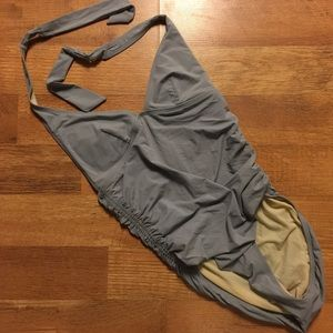 Other - DKNY Gray Halter Maillot 1-piece Bathing Suit